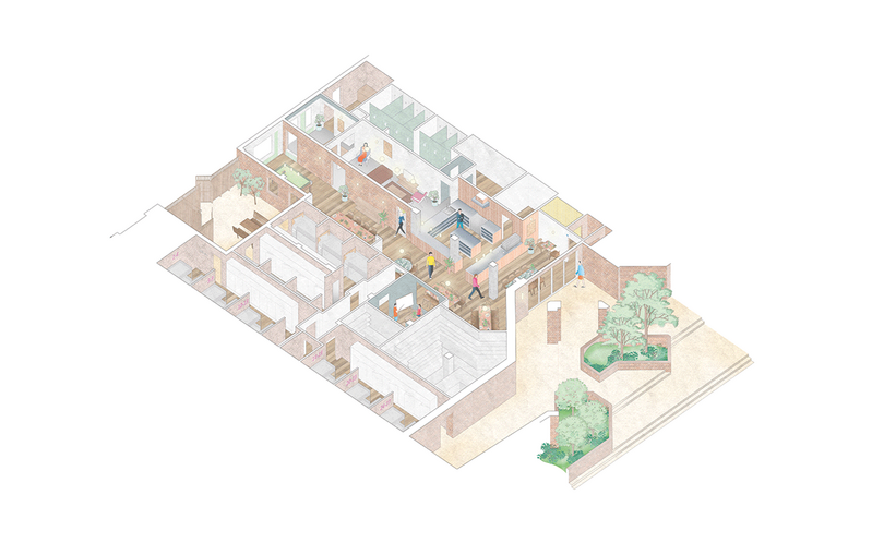 Axonometric showing the relation of public to private.