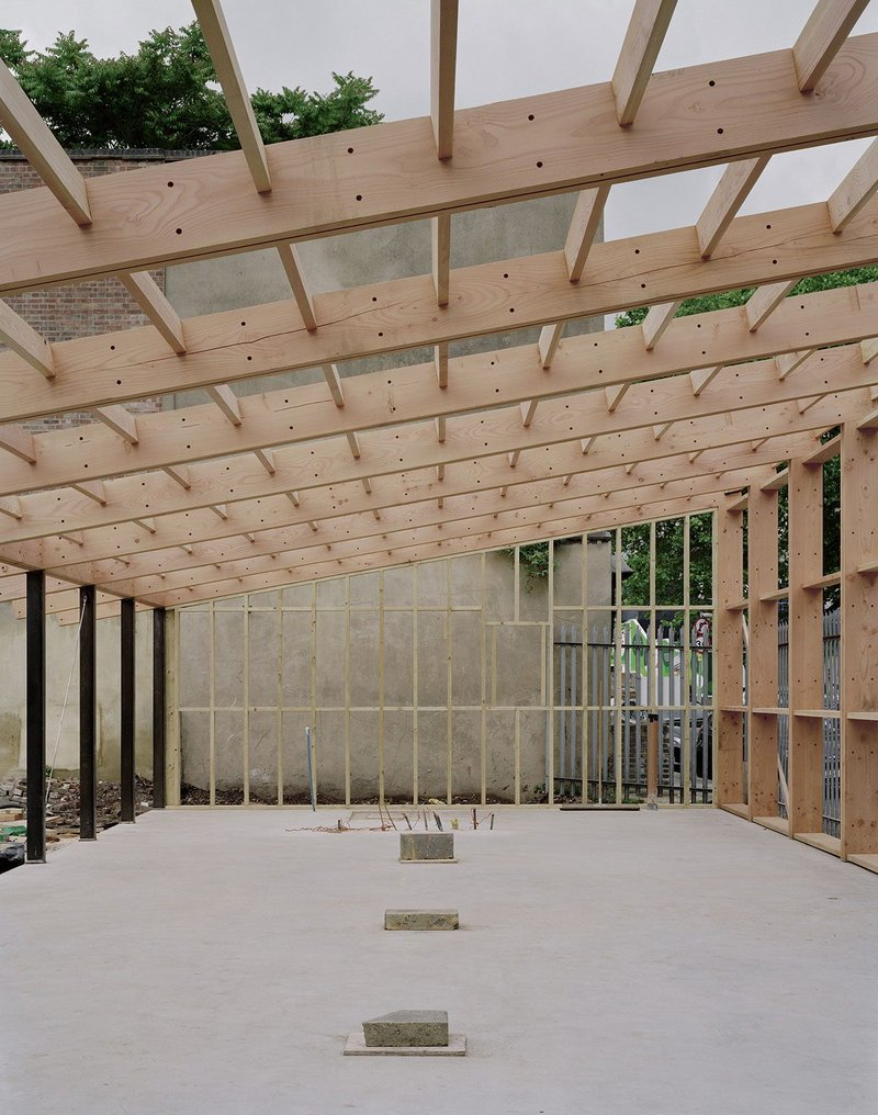 The lengths of UK-grown Douglas fir defined the span of Feilden Fowles' studio in south London, based round a simple pitched extrusion.