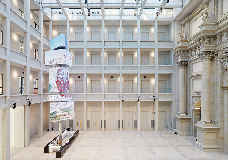 Architect Franco Stella's goal was to combine the 'new old' and the new in a way that leaves space for the past but also creates enough possibilities for the future to arrive - here one of the courtyards with the media tower stack.