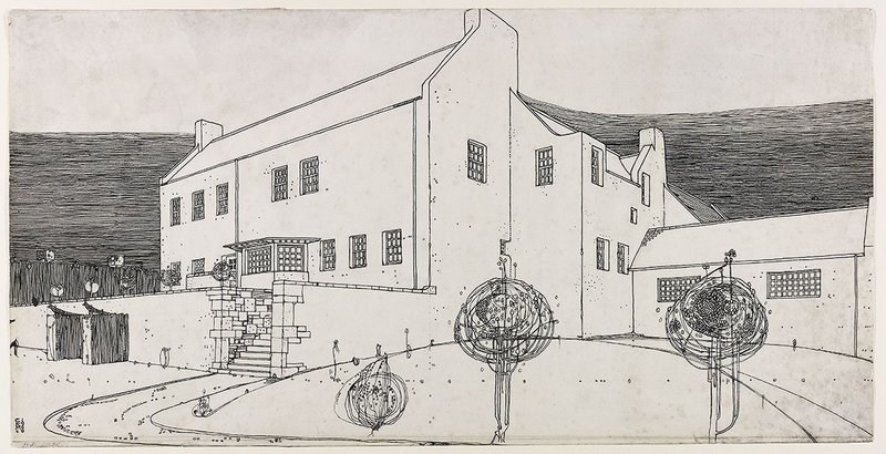 Windy Hill, perspective drawing in ink, 1900, by Charles Rennie Mackintosh