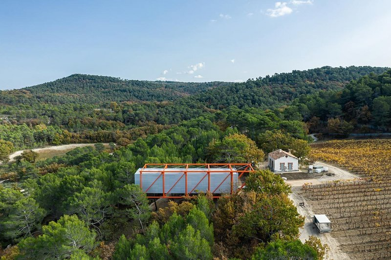 The Richard Rogers' Drawing Gallery in the vineyard of Chateau La Coste in Provence, France.
