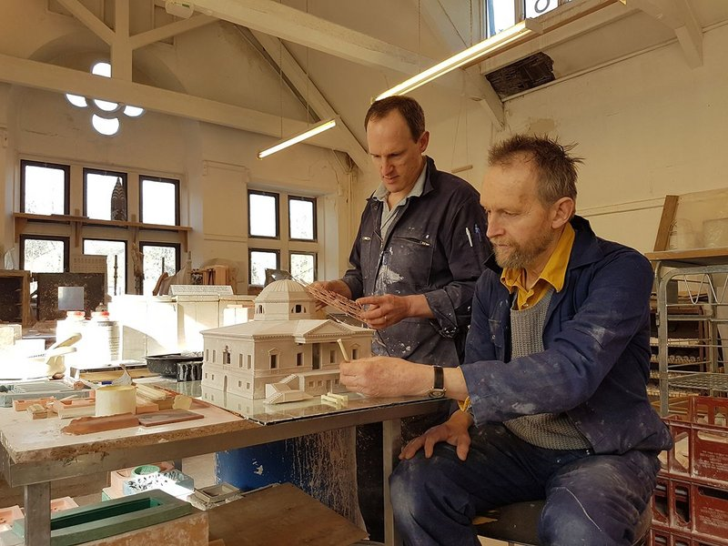 Timothy Richards and team working on the Chiswick House model.