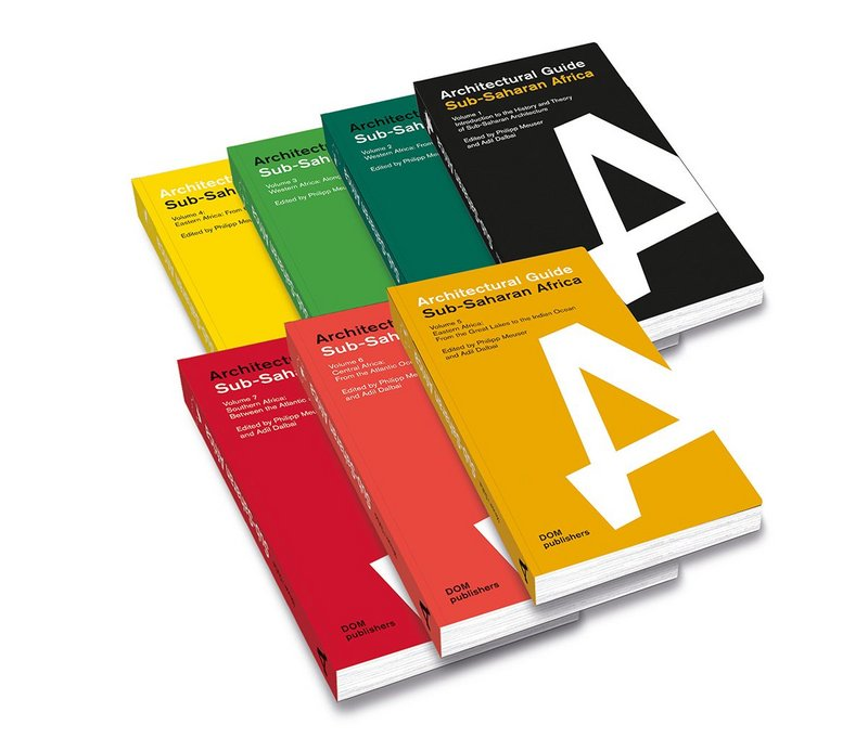 The Pan-African colours adorn the seven volumes of the Architectural Guide Sub-Saharan Africa  (c) DOM publishers