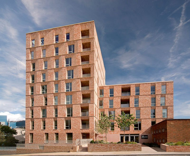 Belle Vue's pinky-red tumbled-brick facades are Morris+Company's contemporary take on the red brick in the surrounding conservation areas.