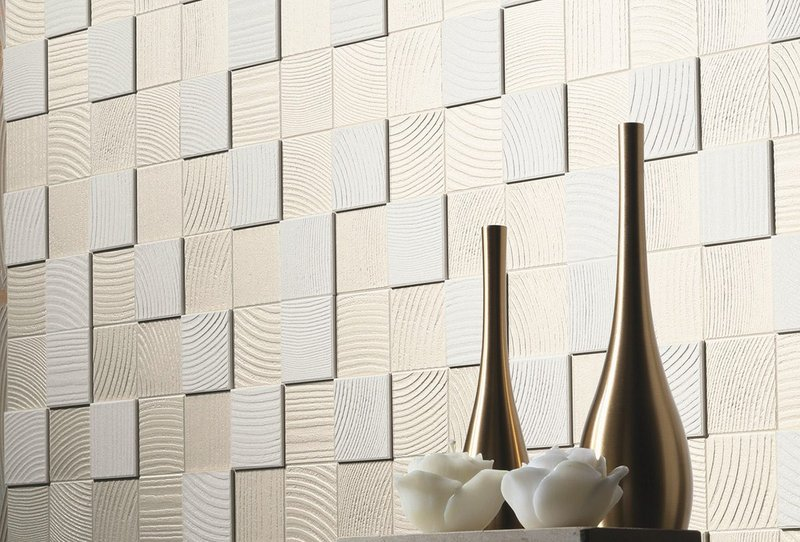 Ecocarat tiles have a surface structure that changes the humidity of indoor environments. Shown here in Pearl Mask 2.