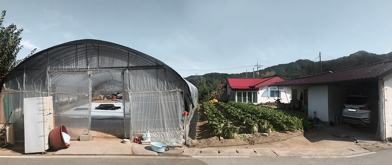 A family unit in Yugok-ri and its spatial changes: vinyl-greenhouse (left), house with veranda extension (centre), vegetable garden (centre), extended storage unit (right).