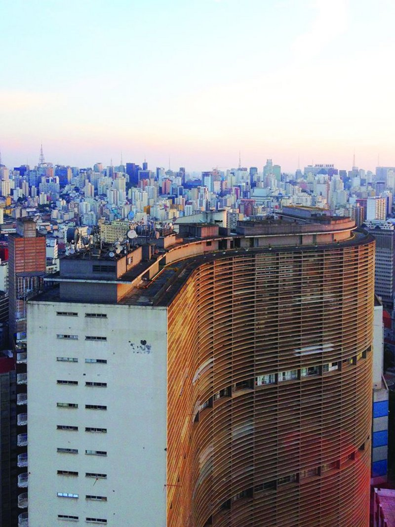 Copan Building in downtown São Paulo by Niemeyer, with the city beyond.