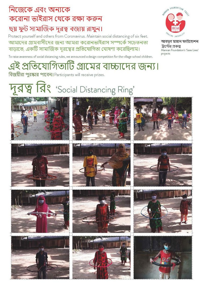 A poster of the participants of the competition, designing a 'Social Distancing Ring'.