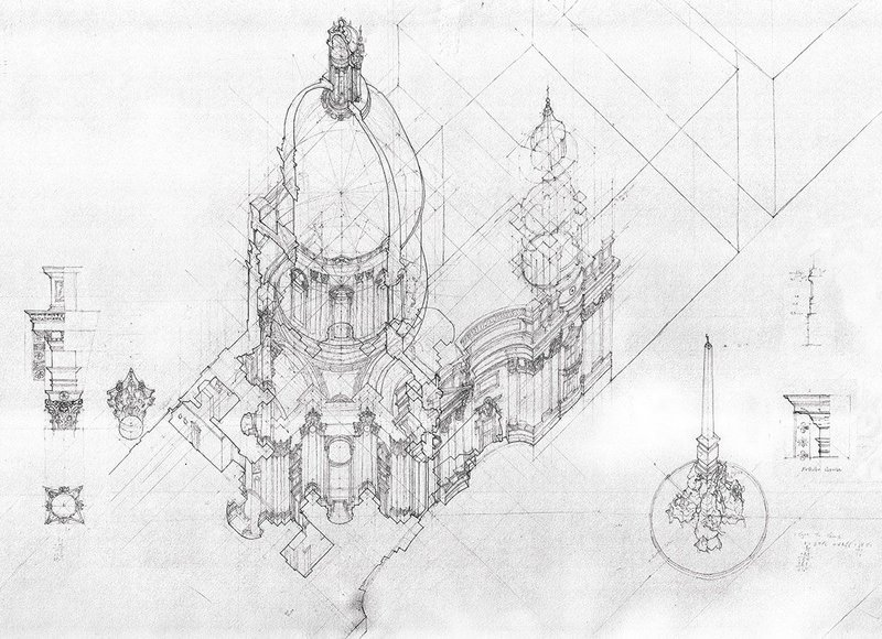 Dualities and Multiplicities. Sant' Agnese in Agone. Winston Yuen. Pencil on paper 1060 × 680mm