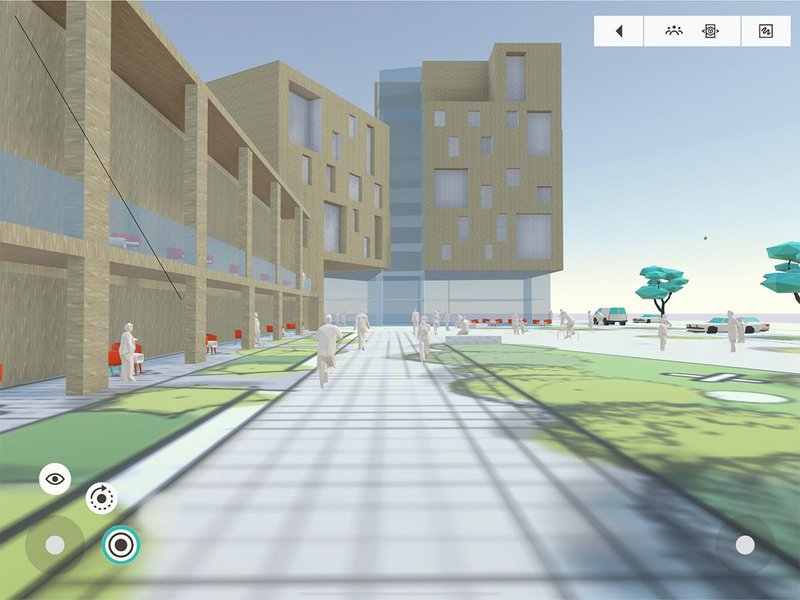 A virtual model of a scheme designed by Davey + Smith Architects and created from within Arkio's virtual space.