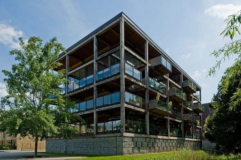 The Glass Building, at Accordia, Cambridge, designed by Feilden Clegg Bradley Studios.