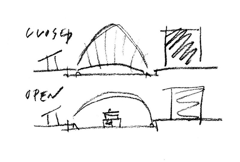 Jim Eyre's sketch shows the concept for the footbridge in open and closed form.