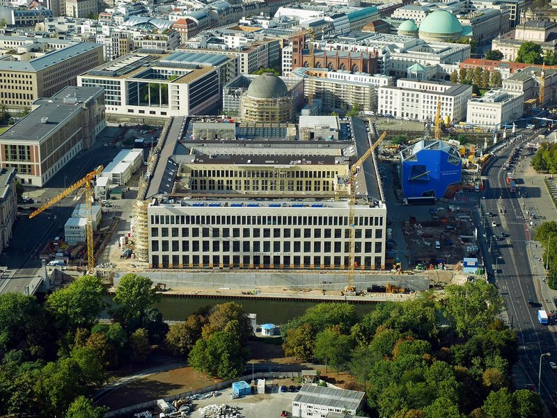 Nearing completion – Berlin's astonishing Stadtschloss, an architectural parable. This is its modernist elevation.