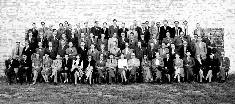 CIAM6 Bridgwater group photograph taken during an afternoon trip to Bristol Aeroplane Company's temporary aluminium housing factory, September 1947.