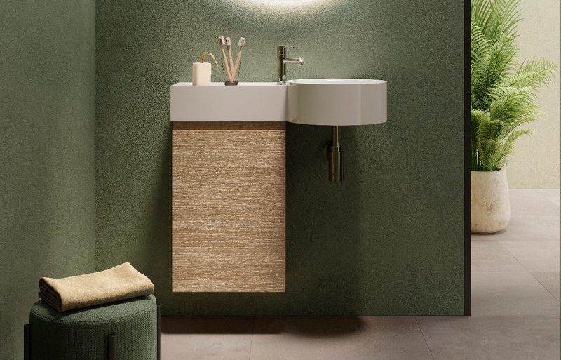 RAK Ceramics' RAK-Petit washbasin and RAK-Joy vanity: Minimal shapes and compact dimensions for small but special bathrooms.