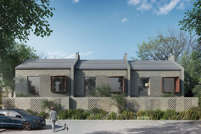 Rendering of new terraced housing by PAD Studio for Enfield, north London.