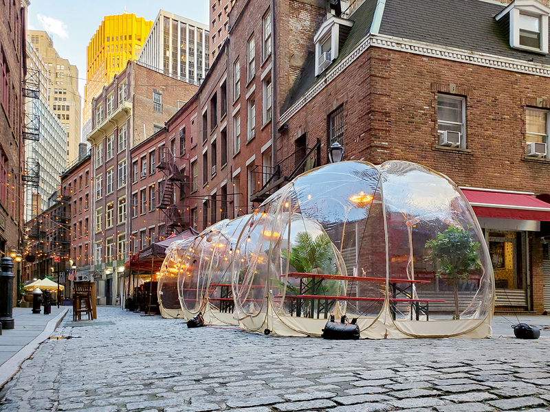 A dining pod for Covid times in Manhattan.