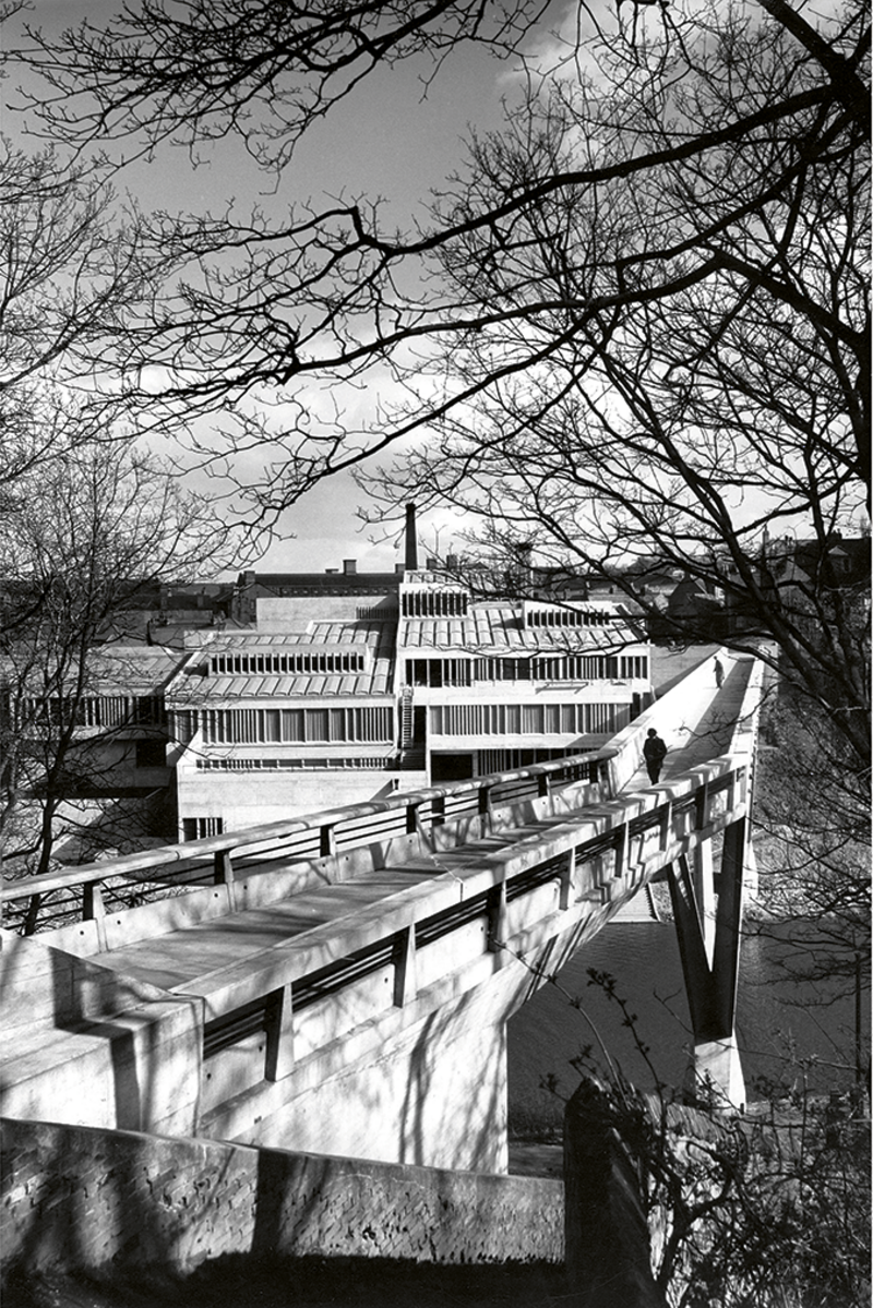 Where Hugh began to find an interest in architecture: Architects Co-Partnership's Dunelm House and Ove Arup's Kingsgate Bridge in Durham, completed 1966 and 1963 respectively.