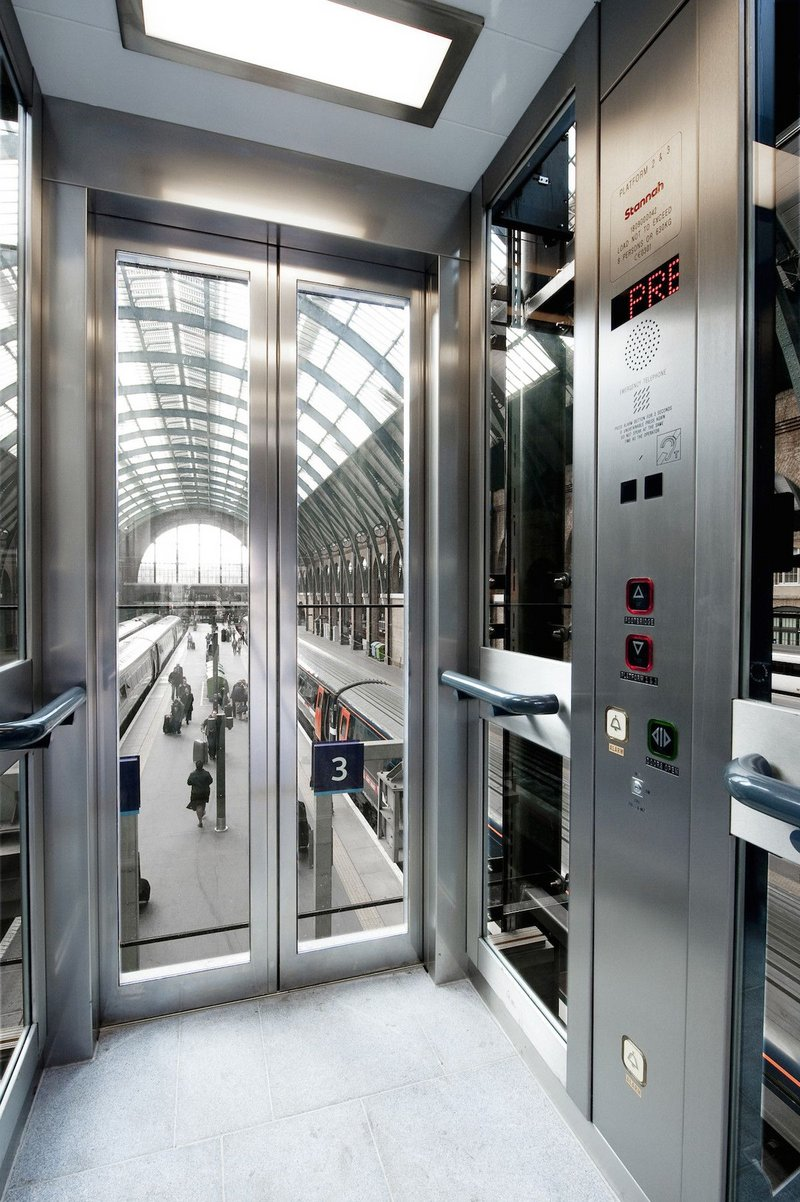 Stannah lift at King's Cross Station, London.