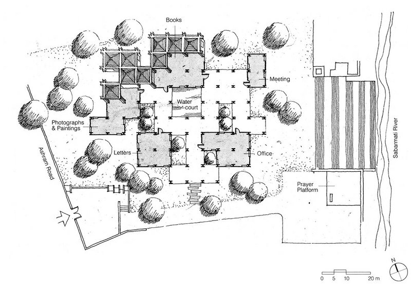 Sketch plan of the Gandhi Smarak Sangrahalaya, designed when Correa was in his thirties.