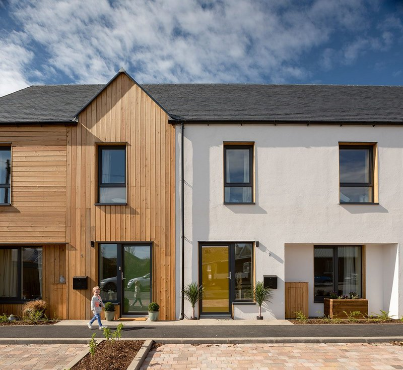 Springfield Terraace, a development of three Passivhoos houses for social rent at St Boswells for Eildon Housing Association. The houses were designed by John Gilbert Architects and built by Stewart & Shields.