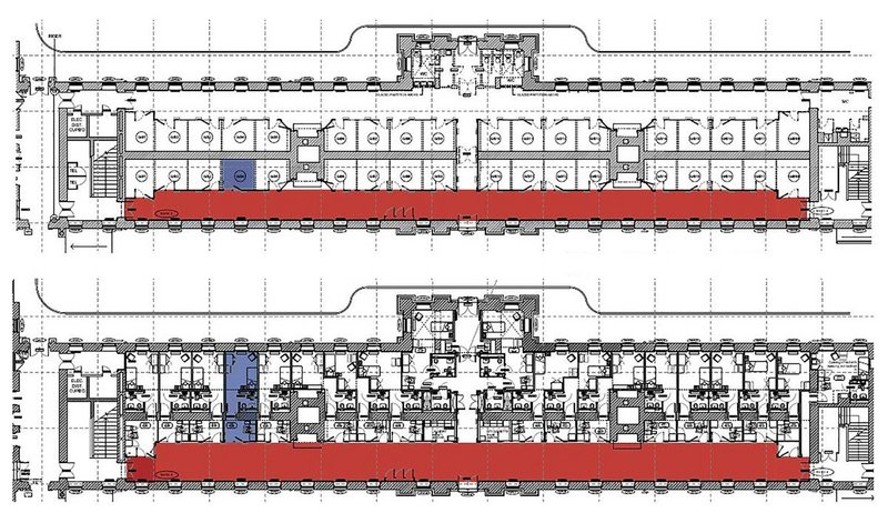 Annotated plan showing the original arrangements (above) and the refurbishment plan (below), with one social corridor removed and replaced by extended bedrooms.