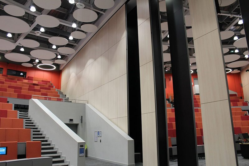 The Frederick Douglass Centre auditorium: The final installation surpassed the client's demands for acoustic privacy with a 59dB DnTw on-site tested performance.
