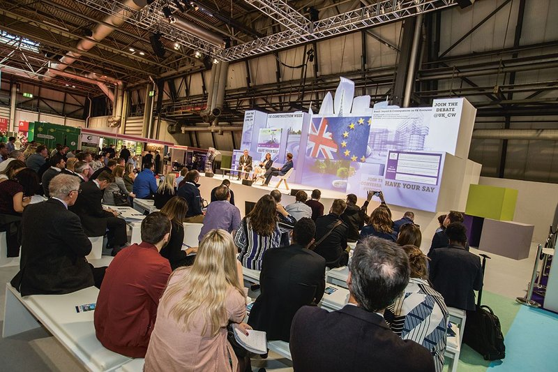 The main stage at UK Construction Week 2018.