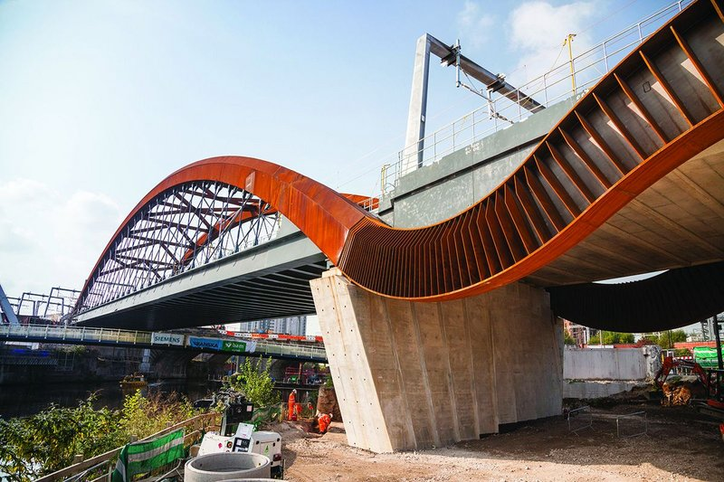 The concertina-like cascades create a strong visual identity for the new rail link.