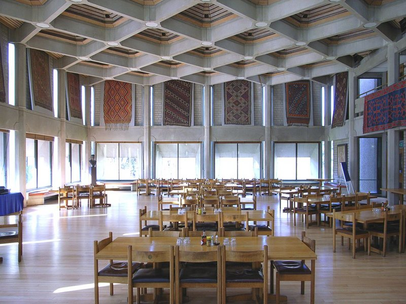 The dining hall of Partridge's 1970 Hilda Besse building at St Antony's College Oxford.