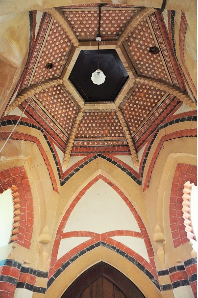 An explosion of polychromy at Lower Shuckburgh by John Croft. Why did the elusive Croft not do more strange and wonderful work like Shuckburgh?