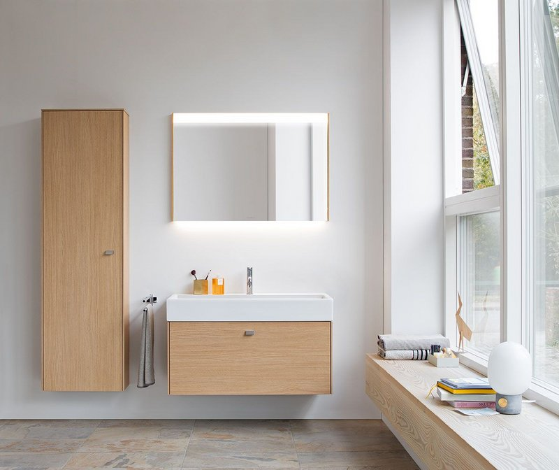 Duravit's Briosi bathroom furniture range includes a tall cabinet (shown) and semi-tall cabinet for additional storage.