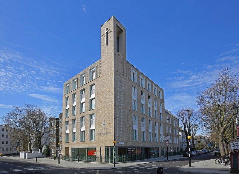 Vandersanden Creme brickwork at Westbourne Park Baptist Church: 'The hand-formed cream-coloured brick helps elevate the status of the design.'