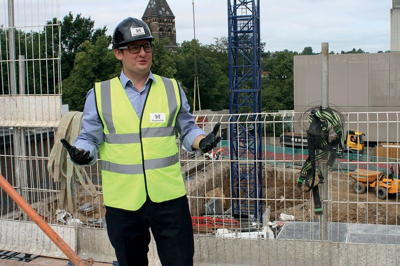 John Nordon at Hampstead Green Place building site.