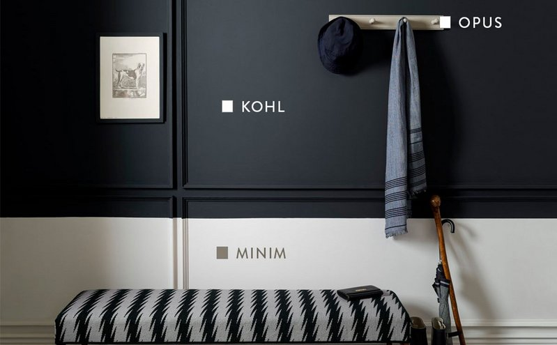 Kohl and Minim paint shades from the Monochrome collection carry the warmth of Opus from the Originals collection, all Paint & Paper Library.