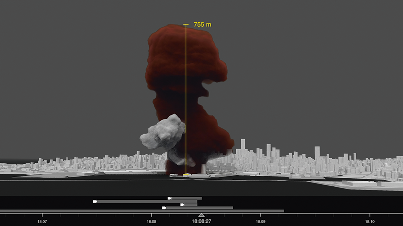 Still from Forensic Architecture's investigation of the 2020 Beirut Port Explosion, showing the source and height of the ammonium nitrate plume.