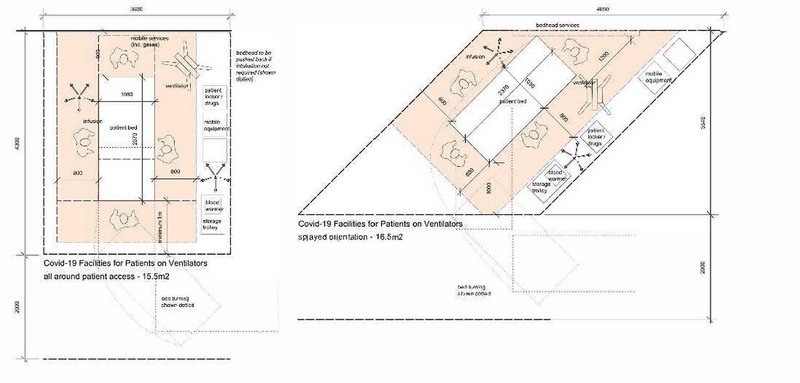 Covid-19 Bed bay layouts from Medical Architecture's design note for the NHS.