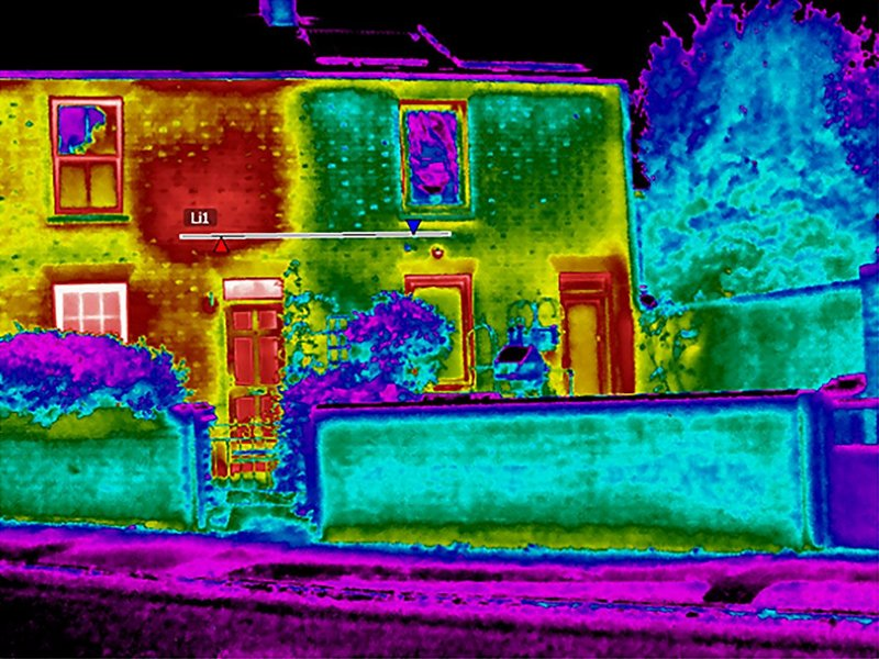 Post occupancy evaluation can show how effective changes have been, as with this thermal image of a Victorian semi-detached that shows the effect of improved insulation.