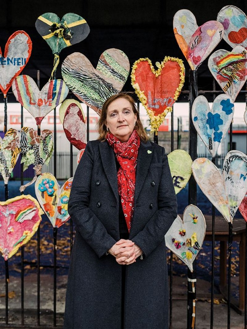 Emma Dent Coad MP in front of the 24hearts project.