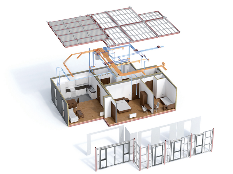 Making the information shareable: this BIM model of a typical two bed flat was used to make three steel-framed volumetric units fabricated off-site. The scheme is for 130 homes for social rent and shared ownership.
