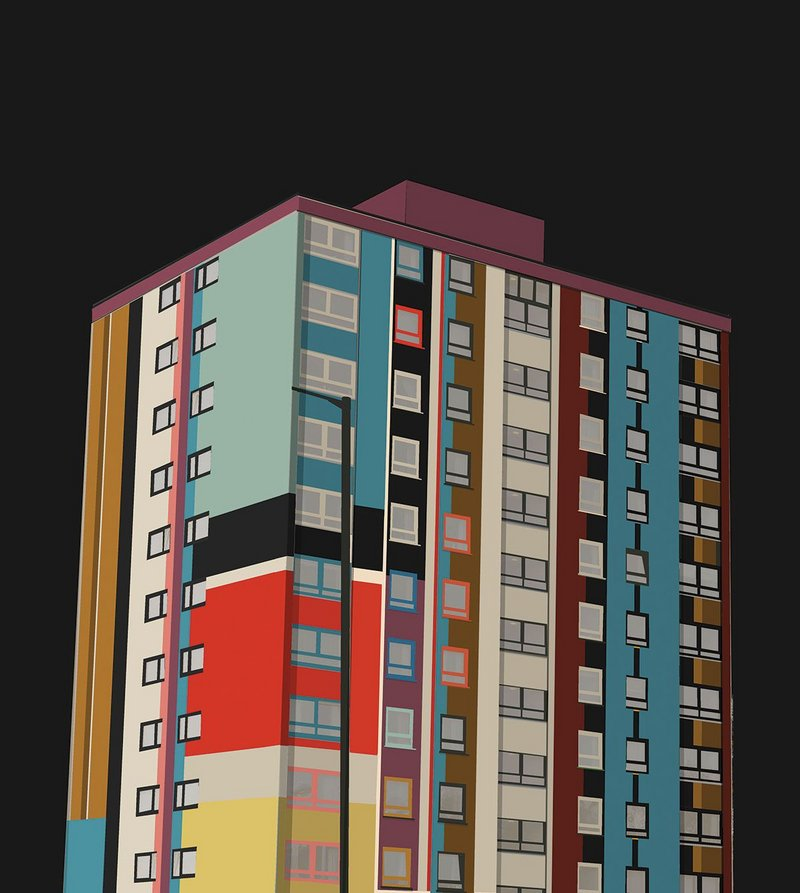 For her fourth year elective Rachel Dunne took On Colour. Her project analysed the colours of Pablo Picasso's Mandolin and Guitar and applied them to a tower block.