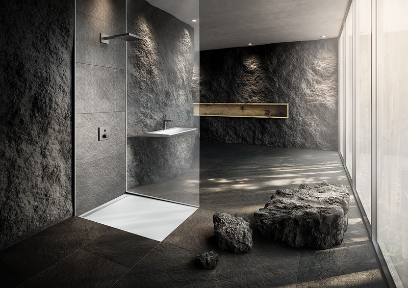 Kaldewei's NexSys shower surface features a narrow stainless steel waste channel.