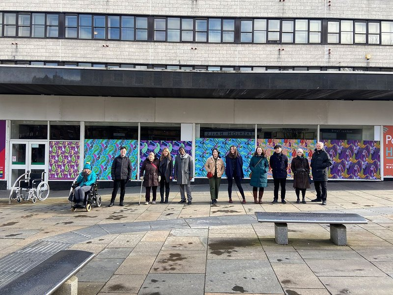 The group of citizens, designers and architects who worked together in Paisley to explore how we will live today as part of as part of What if…?/Scotland. Image Courtesy of 7N What if…?/Scotland