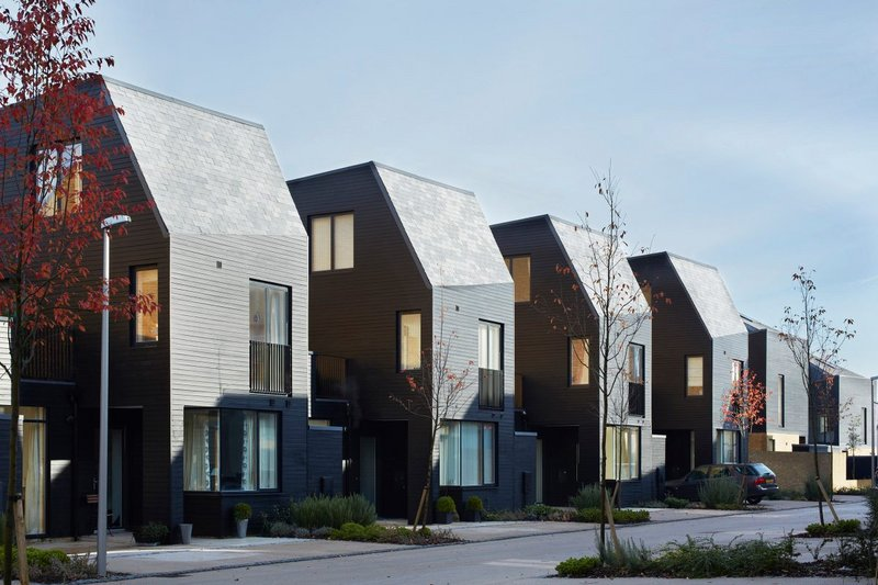 Newhall Be, Harlow. Alison Brooks Architects. Featuring wood cladding and a prefabricated timber construction to make use of roof spaces.
