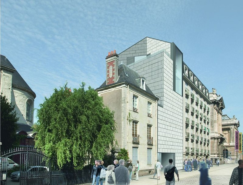 View towards the main museum entrance showing the new graphic art workshop building.