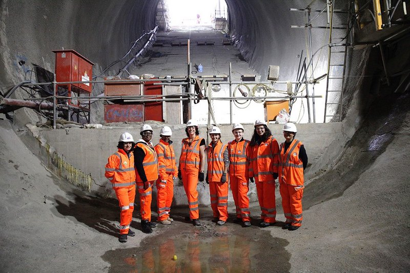 Rail minister Claire Perry MP meets women working on Crossrail in 2019.