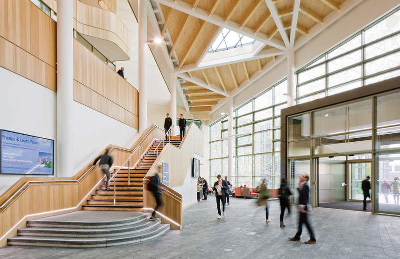The forum space at the Newcastle University Urban Sciences Building by Hawkins\Brown is naturally ventilated with extensive use of timber. Parametric design was used to make the structural elements as efficient as possible.