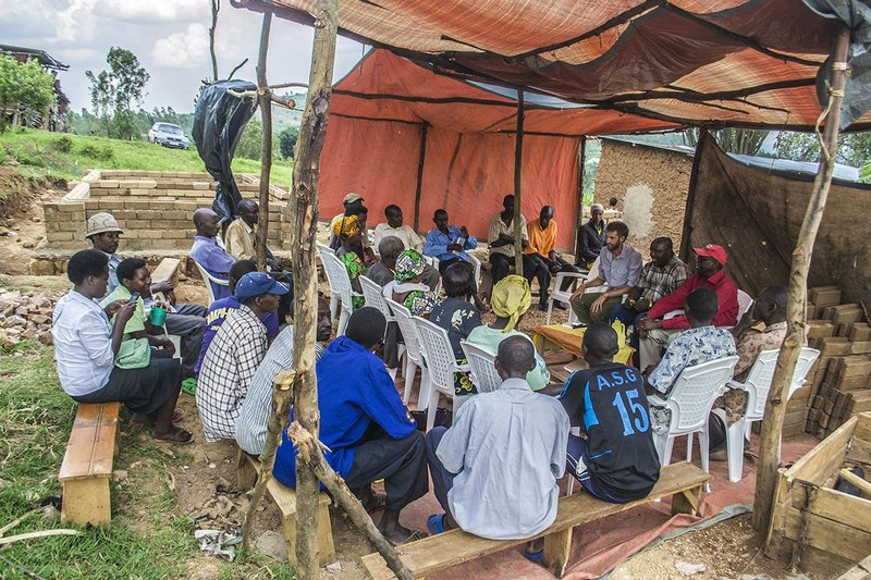 Cooperative meeting and speeches after first phase on site in Ntarama, Rwanda, December 2014.