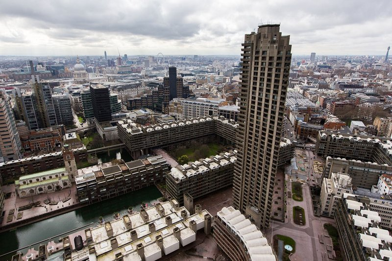 View from the top of the Barbican's Cromwell Tower, looking west, 2014
