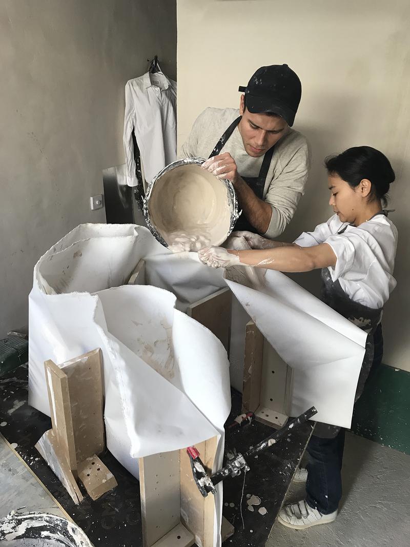 Testing fabric shells to cast the gypsum for Maison Margiela.